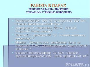 РАБОТА В ПАРАХ (РЕШЕНИЕ ЗАДАЧ НА ДВИЖЕНИЕ, СВЯЗАННЫХ С ЖИЗНЬЮ ЖИВОТНЫХ) Гепард п