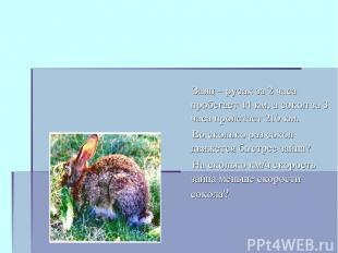 Заяц – русак за 2 часа пробегает 14 км, а сокол за 3 часа пролетает 210 км. Во с
