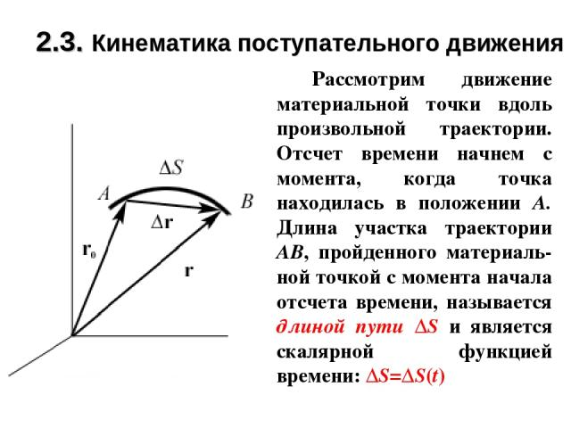 2.3. Кинематика поступательного движения Рассмотрим движение материальной точки вдоль произвольной траектории. Отсчет времени начнем с момента, когда точка находилась в положении А. Длина участка траектории АВ, пройденного материаль-ной точкой с мом…