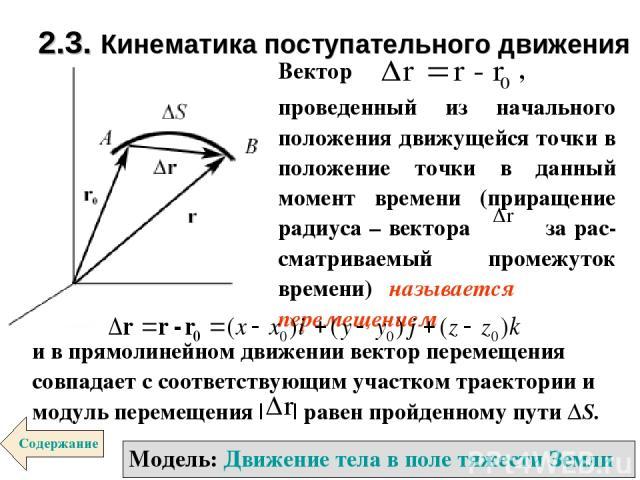 2.3. Кинематика поступательного движения Модель: Движение тела в поле тяжести Земли Содержание Вектор , проведенный из начального положения движущейся точки в положение точки в данный момент времени (приращение радиуса – вектора за рас-сматриваемый …