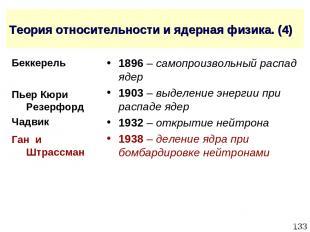 * Теория относительности и ядерная физика. (4) 1896 – самопроизвольный распад яд
