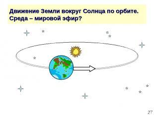 * Движение Земли вокруг Солнца по орбите. Среда – мировой эфир?