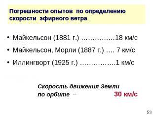 * Погрешности опытов по определению скорости эфирного ветра Майкельсон (1881 г.)
