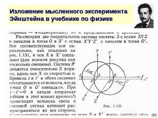 * Изложение мысленного эксперимента Эйнштейна в учебнике по физике