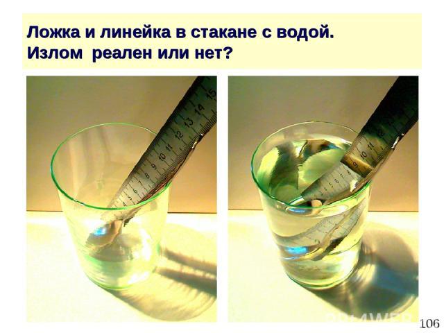 * Ложка и линейка в стакане с водой. Излом реален или нет?