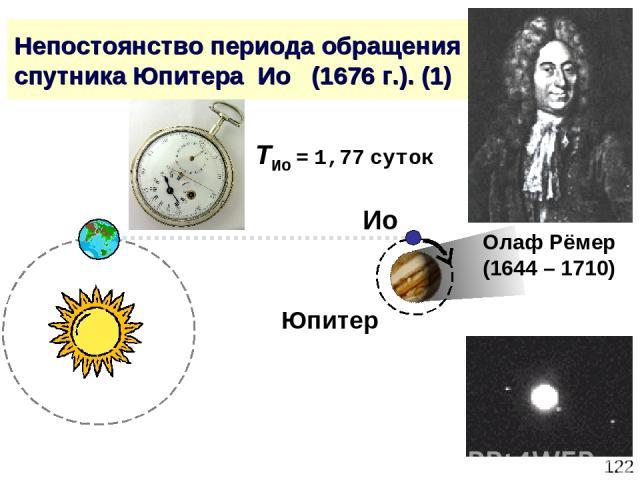 * Непостоянство периода обращения спутника Юпитера Ио (1676 г.). (1) Олаф Рёмер (1644 – 1710) Юпитер Ио TИо = 1,77 суток