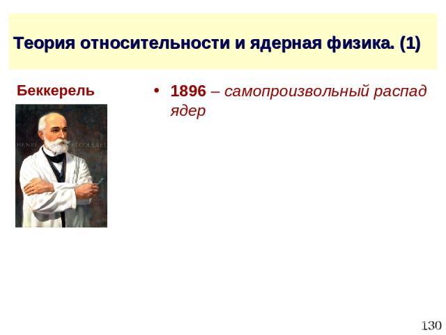 * Теория относительности и ядерная физика. (1) 1896 – самопроизвольный распад ядер Беккерель