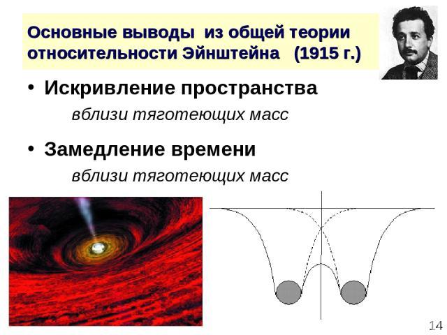 * Основные выводы из общей теории относительности Эйнштейна (1915 г.) Искривление пространства вблизи тяготеющих масс Замедление времени вблизи тяготеющих масс