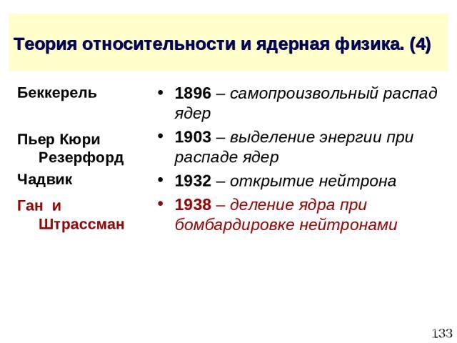 * Теория относительности и ядерная физика. (4) 1896 – самопроизвольный распад ядер 1903 – выделение энергии при распаде ядер 1932 – открытие нейтрона 1938 – деление ядра при бомбардировке нейтронами Ган и Штрассман Беккерель Пьер Кюри Резерфорд Чадвик