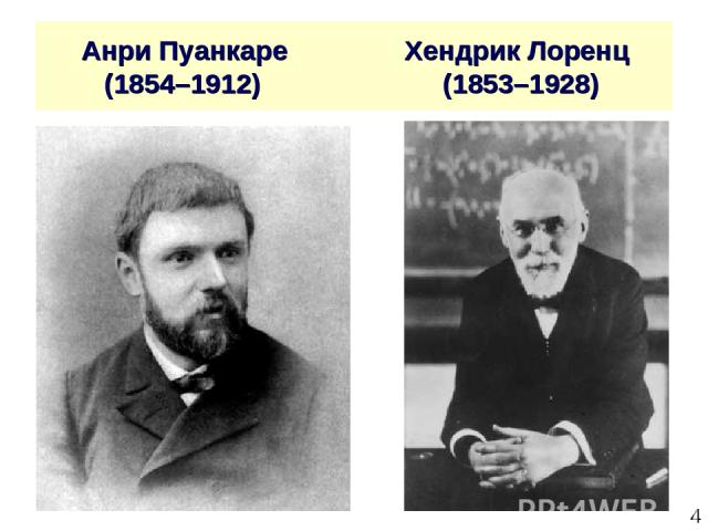 * Анри Пуанкаре Хендрик Лоренц (1854–1912) (1853–1928)