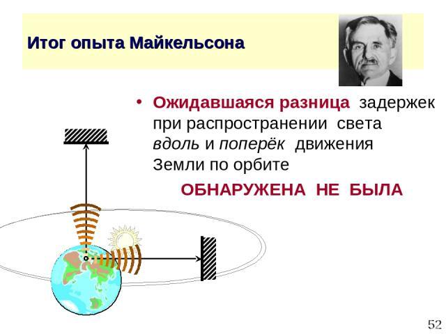 * Итог опыта Майкельсона Ожидавшаяся разница задержек при распространении света вдоль и поперёк движения Земли по орбите ОБНАРУЖЕНА НЕ БЫЛА