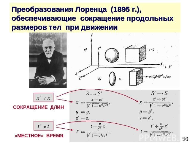 * Преобразования Лоренца (1895 г.), обеспечивающие сокращение продольных размеров тел при движении «МЕСТНОЕ» ВРЕМЯ t' ≠ t x' ≠ x СОКРАЩЕНИЕ ДЛИН
