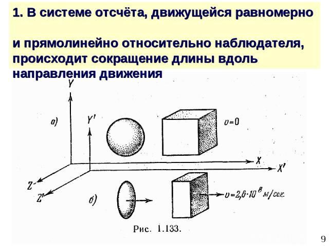 * 1. В системе отсчёта, движущейся равномерно и прямолинейно относительно наблюдателя, происходит сокращение длины вдоль направления движения
