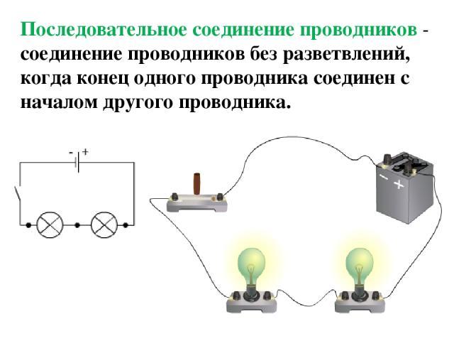 Последовательное соединение проводников - соединение проводников без разветвлений, когда конец одного проводника соединен с началом другого проводника.