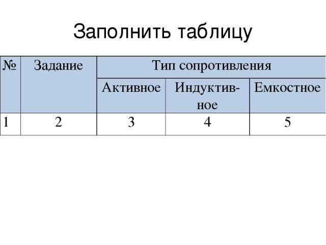 Заполнить таблицу № Задание Тип сопротивления Активное Индуктив- ное Емкостное 1 2 3 4 5