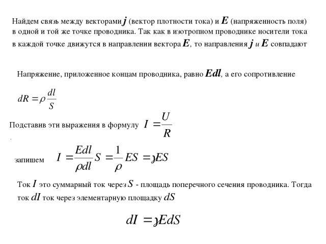 Найдем связь между векторами j (вектор плотности тока) и Е (напряженность поля) в одной и той же точке проводника. Так как в изотропном проводнике носители тока в каждой точке движутся в направлении вектора Е, то направления j и Е совпадают Напряжен…