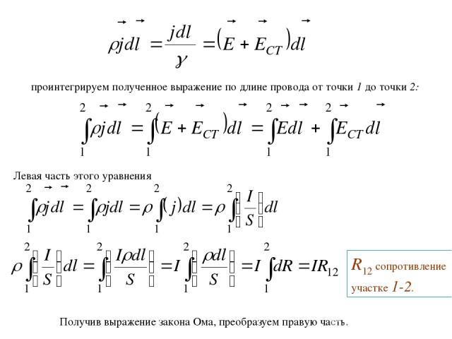 проинтегрируем полученное выражение по длине провода от точки 1 до точки 2: Левая часть этого уравнения R12 сопротивление участке 1-2. Получив выражение закона Ома, преобразуем правую часть.