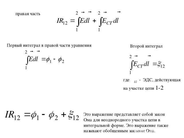 правая часть Первый интеграл в правой части уравнения Второй интеграл где ξ12 - ЭДС, действующая на участке цепи 1-2 Это выражение представляет собой закон Ома для неоднородного участка цепи в интегральной форме. Это выражение также называют обобщен…