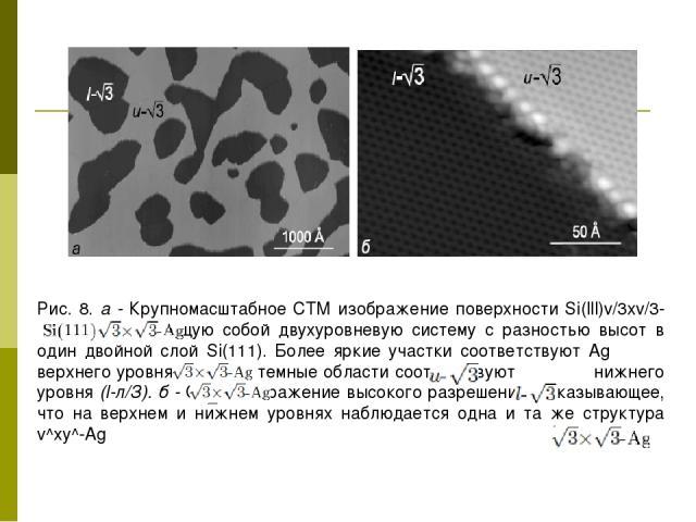 Рис. 8. а - Крупномасштабное СТМ изображение поверхности Si(lll)v/3xv/3-Ag, представляющую собой двухуровневую систему с разностью высот в один двойной слой Si(111). Более яркие участки соответствуют Ag верхнего уровня (и-л/З), а темные области соот…