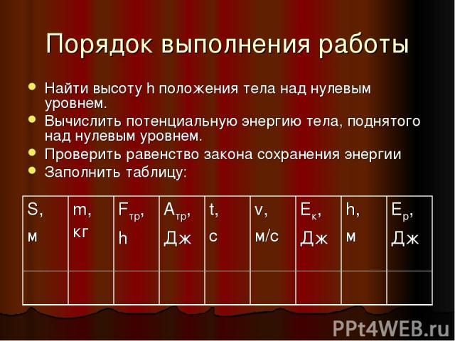 Порядок выполнения работы Найти высоту h положения тела над нулевым уровнем. Вычислить потенциальную энергию тела, поднятого над нулевым уровнем. Проверить равенство закона сохранения энергии Заполнить таблицу: S, м m, кг Fтр, h Атр, Дж t, с v, м/с …