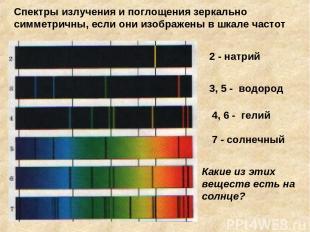 2 - натрий 3, 5 - водород 4, 6 - гелий 7 - солнечный Какие из этих веществ есть