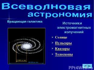 Вращающая галактика Источники электромагнитных излучений Солнце Пульсары Квазары