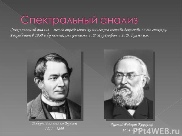Густав Роберт Кирхгоф 1824 - 1887 Роберт Вильгельм Бунзен 1811 - 1899 Спектральный анализ – метод определения химического состава вещества по его спектру. Разработан в 1859 году немецкими учеными Г. Р. Кирхгофом и Р. В. Бунзеным.