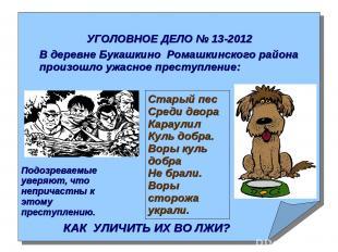 УГОЛОВНОЕ ДЕЛО № 13-2012 В деревне Букашкино Ромашкинского района произошло ужас