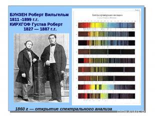 БУНЗЕН Роберт Вильгельм 1811 -1899 г.г. КИРХГОФ Густав Роберт 1827 — 1887 г.г. 1