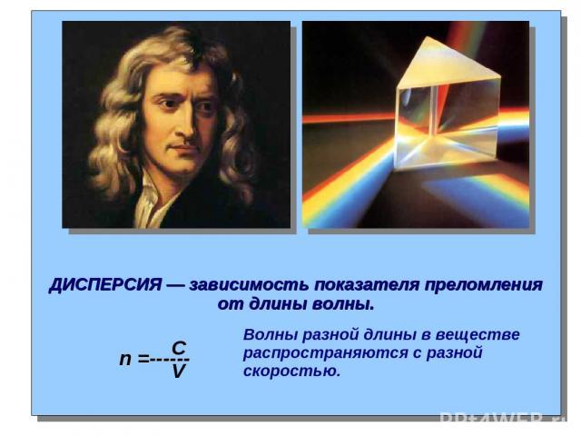 ДИСПЕРСИЯ — зависимость показателя преломления от длины волны. n =------ C V Волны разной длины в веществе распространяются с разной скоростью.