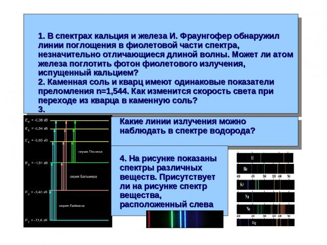 1. В спектрах кальция и железа И. Фраунгофер обнаружил линии поглощения в фиолетовой части спектра, незначительно отличающиеся длиной волны. Может ли атом железа поглотить фотон фиолетового излучения, испущенный кальцием? 2. Каменная соль и кварц им…