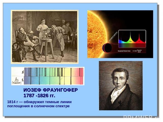 ИОЗЕФ ФРАУНГОФЕР 1787 -1826 гг. 1814 г — обнаружил темные линии поглощения в солнечном спектре