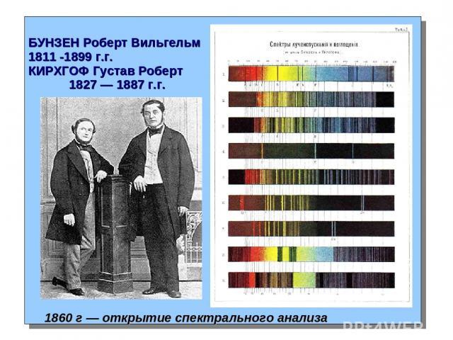 БУНЗЕН Роберт Вильгельм 1811 -1899 г.г. КИРХГОФ Густав Роберт 1827 — 1887 г.г. 1860 г — открытие спектрального анализа