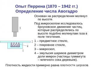 Опыт Перрена (1870 – 1942 гг.) Определение числа Авогадро Основан на распределен