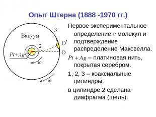 Опыт Штерна (1888 -1970 гг.) Первое экспериментальное определение v молекул и по