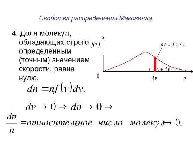 Свойства распределения Максвелла: 4. Доля молекул, обладающих строго определённым (точным) значением скорости, равна нулю.