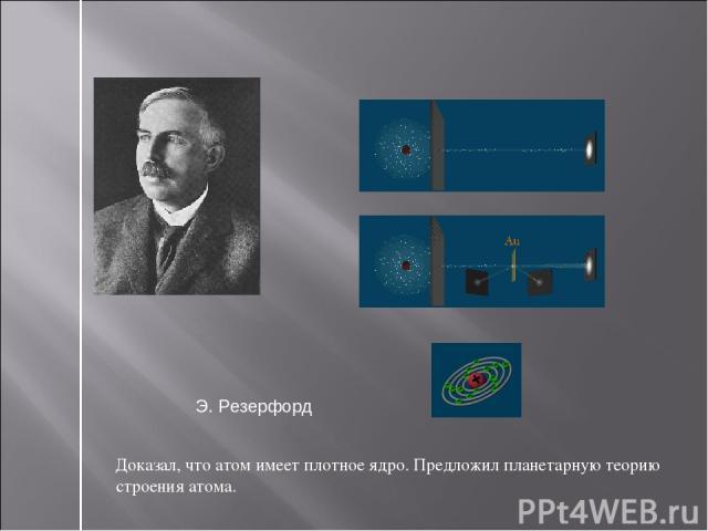 Доказал, что атом имеет плотное ядро. Предложил планетарную теорию строения атома. Э. Резерфорд
