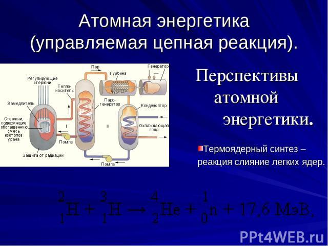 Атомная энергетика (управляемая цепная реакция). Перспективы атомной энергетики. Термоядерный синтез – реакция слияние легких ядер.