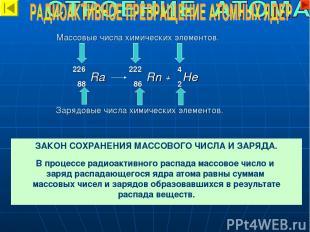 Массовые числа химических элементов. Зарядовые числа химических элементов. 222 2