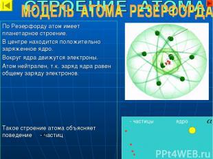 - частицы ядро По Резерфорду атом имеет планетарное строение. В центре находится