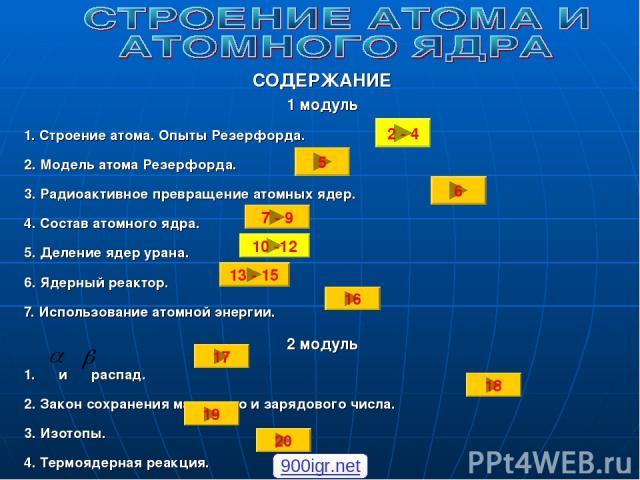 СОДЕРЖАНИЕ 1 модуль 1. Строение атома. Опыты Резерфорда. 2. Модель атома Резерфорда. 3. Радиоактивное превращение атомных ядер. 4. Состав атомного ядра. 5. Деление ядер урана. 6. Ядерный реактор. 7. Использование атомной энергии. 2 модуль 1. и распа…