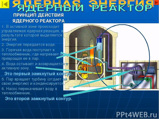 ПРИНЦИП ДЕЙСТВИЯ ЯДЕРНОГО РЕАКТОРА 1. В активной зоне происходит управляемая ядерная реакция, в результате которой выделяется энергия. 2. Энергия передается воде. 3. Горячая вода поступает в теплообменник, где нагревает воду, превращая ее в пар. 4. …
