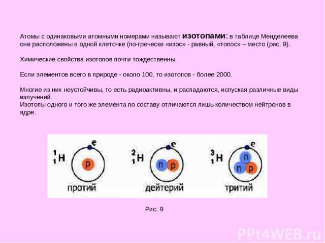 Атомы с одинаковыми атомными номерами называют изотопами: в таблице Менделеева они расположены в одной клеточке (по-гречески «изос» - равный, «топос» – место (рис. 9). Химические свойства изотопов почти тождественны. Если элементов всего в природе -…