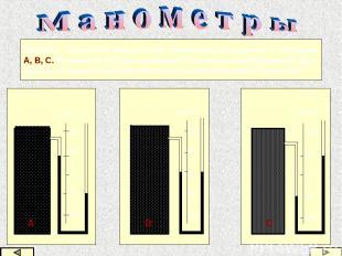 ЗАДАЧА. Открытые жидкостные манометры соединены с сосудами А, В, С. В каком из с