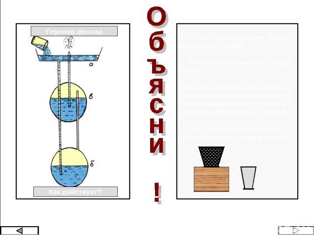 Геронов фонтан Как действует? 1. Отчего вода булькает, выли- ваясь из бутылки? 2. Зачем мы делаем вдох, когда пьём? 3. Почему корнеплоды, вырос- шие на чернозёме или песчаной почве выдёргиваются легко, а на влажной глинистой – тяжело? 4. Как с помощ…