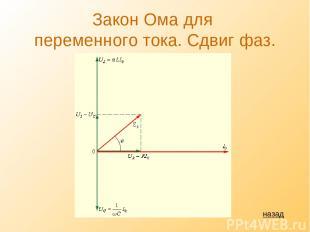 Закон Ома для переменного тока. Сдвиг фаз. назад