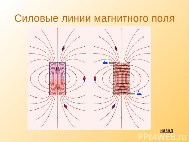 Силовые линии магнитного поля назад