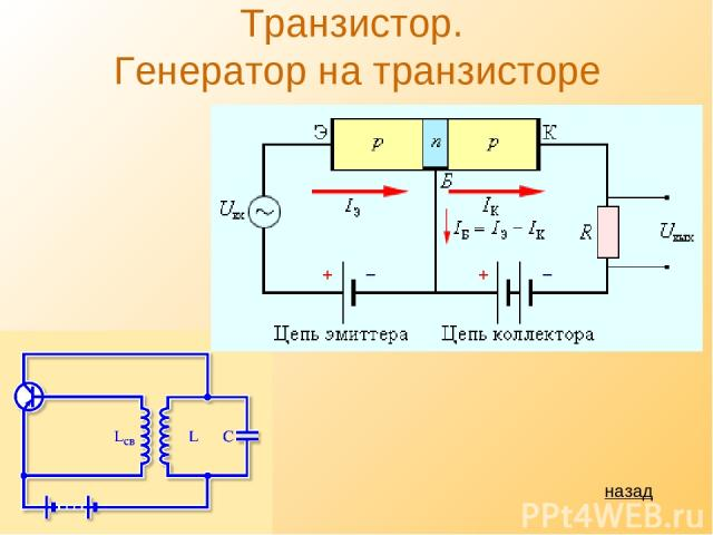 Транзистор. Генератор на транзисторе назад