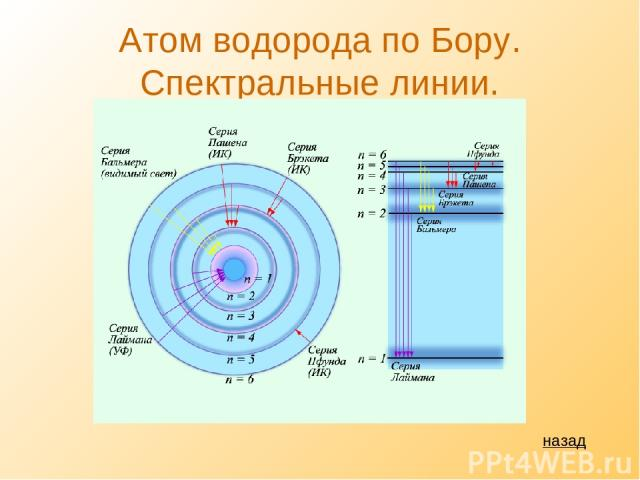 Атом водорода по Бору. Спектральные линии. назад