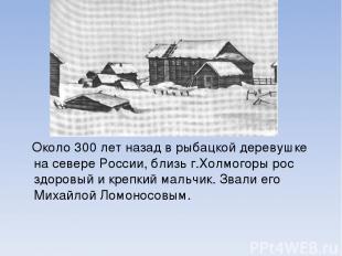 Около 300 лет назад в рыбацкой деревушке на севере России, близь г.Холмогоры рос